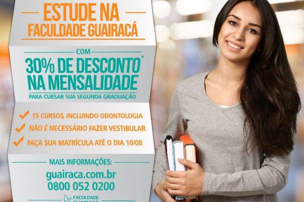 Faculdade Guairacá oferece desconto de 30% em segunda graduação