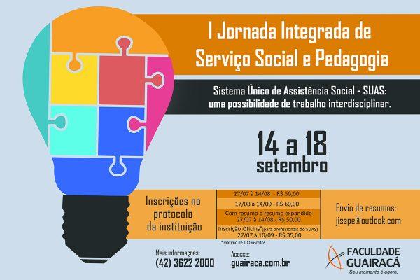 I Jornada Integrada de Serviço Social e Pedagogia está com inscrições abertas