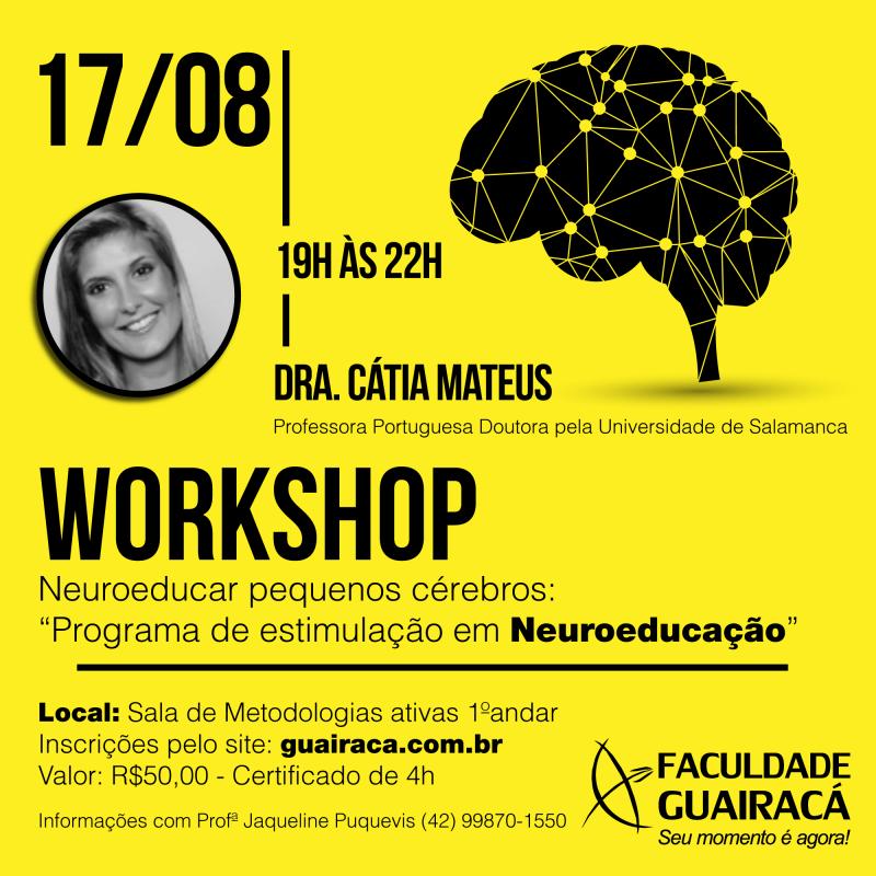 Faculdade Guairacá abre inscrições para workshop em neuroeducação