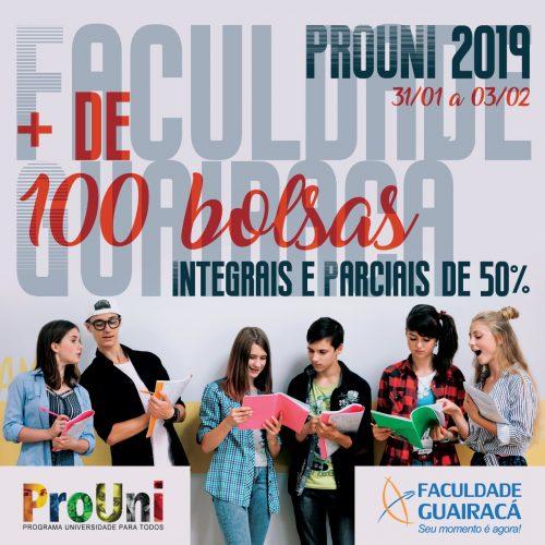 Nesse semestre, Faculdade Guairacá concede mais de 100 bolsas de estudo pelo ProUni