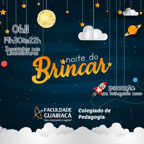 Noite do Brincar oferece atividades para crianças de 3 a 10 anos na Faculdade Guairacá