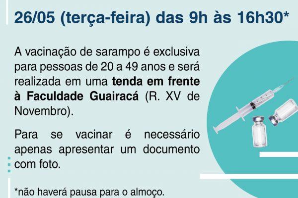 UniGuairacá será ponto de vacinação contra o sarampo nesta terça-feira, 26