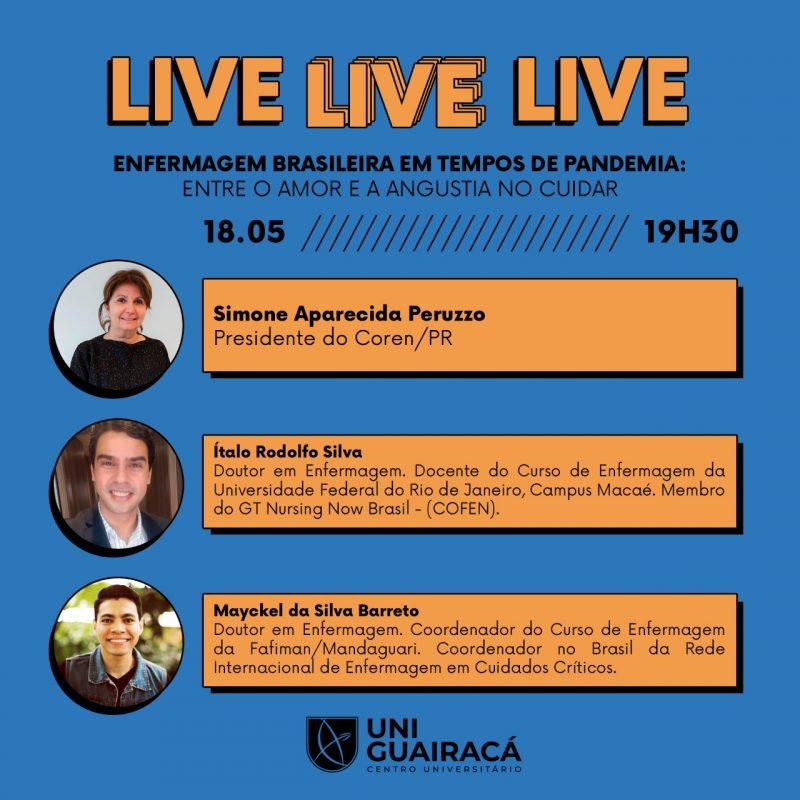 UniGuairacá realiza simpósio online que discute o papel da enfermagem em tempos de pandemia