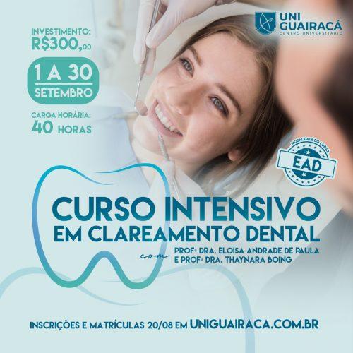 UniGuairacá oferta Curso Intensivo em Clareamento Dental