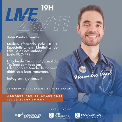 Novembro Azul: live na UniGuairacá discute sobre a saúde do homem